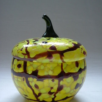 Whimsical Czech Art Deco Lidded Bowl - Art Glass