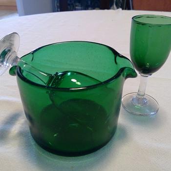 Victorian Green wine Glass Rinser / Cooler - Glassware
