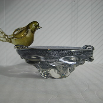 Rare Chalet art glass bowl/ashtray and bird by Gianfranco Guarnieri - Art Glass