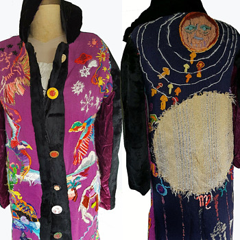 Handmade Hippie Folk Art Womens Coat 60s 70s Original Hand Embroidered Folk Art - Rugs and Textiles