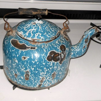 Antique Graniteware Blue Swirl Tea Pot  - Kitchen