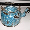 Antique Graniteware Blue Swirl Tea Pot