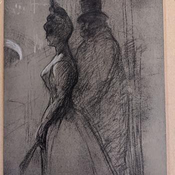 Original Artwork (Charcoal? Signed?) - Fine Art
