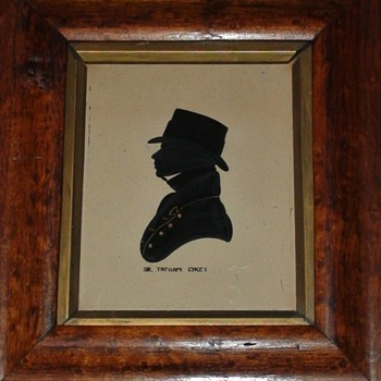Silhouette Reverse Painting On Glass of Sir Tatton Sykes (1772-1863)4th Baronet And Horse Breeder In Rosewood Frame - Fine Art