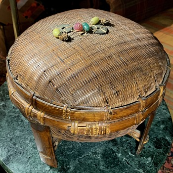 Chinese Sewing Basket on Feet - Asian