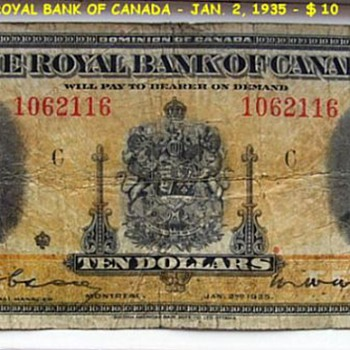 THE ROYAL BANK OF CANADA (1935 ) -- $ 10 Dollars - Paper