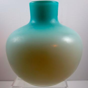 Harrach Blue Cased Uranium Glass Vase c. 1890 - Art Glass