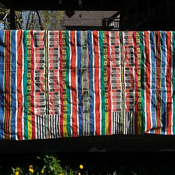 Old Colorful Wool Blanket, 103 inches long - Rugs and Textiles