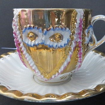 Gilded Teacup and Saucer - Probably German - China and Dinnerware