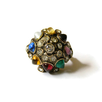Vintage Vendome Colorful Jeweled Ring - Costume Jewelry