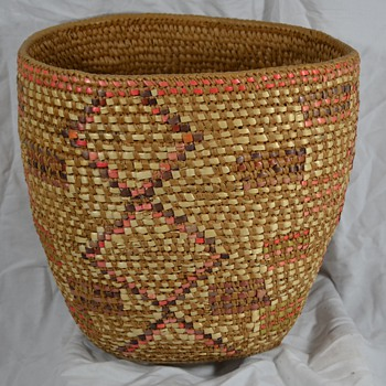Large Native Basket with Neon Designs - Native American