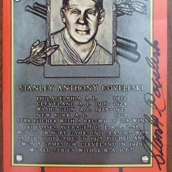 Baseball HOFer Stanley Coveleski autographed postcard - Baseball