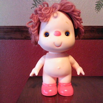 Vintage Plastic/Rubber Doll Yarn Hair Red Nose - Dolls
