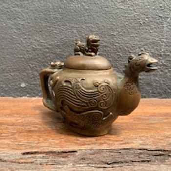 Copper chicken (?) head teapot with foo dog cover - Asian