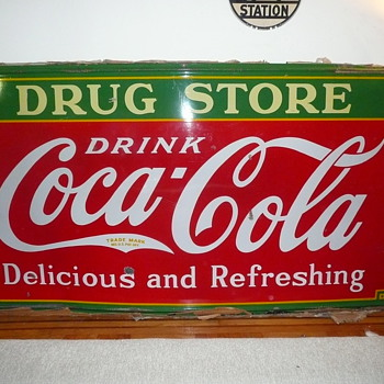 1935 Coca Cola Drug Store Sign American Icon Classic 4' by 8' Porcelain - Coca-Cola