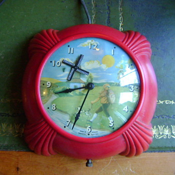 Metamec Electric Wall Clock - with Windmill Automaton - Clocks