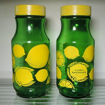 1984 ReaLemon Juice Jars Bottles Carafe Green Anchor Glass Container 32 Ounces Golden Anniversary - Glassware
