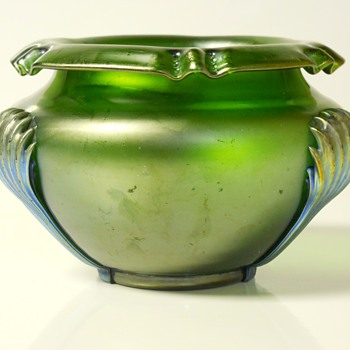 Kralik Glass Green Iridescent Art Nouveau 'Claw' Vase c1900 - Art Glass