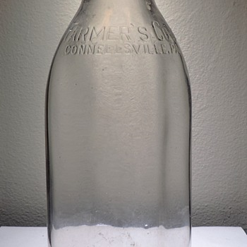 1952 Farmer's Dairy Co-Op Milk Bottle Connellsville Pennsylvania Embossed One Quart Vintage Glass - Bottles