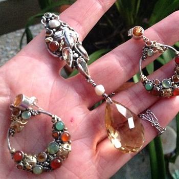 Dorrie Nossiter Necklace and Earrings - Art Deco