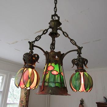 1900-1915 hanging tulip- shade  fixture - Lamps