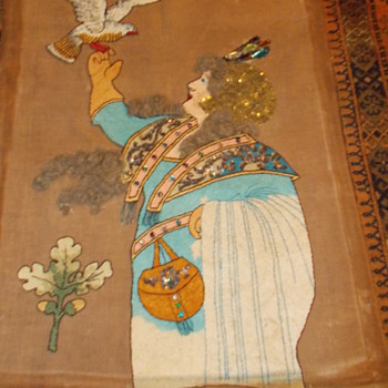 Art Nouveau  tapestry with coloured glass gems