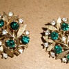 Pretty 'Gold' and 'Emerald' & 'Diamond' Leafy Trifari Earrings