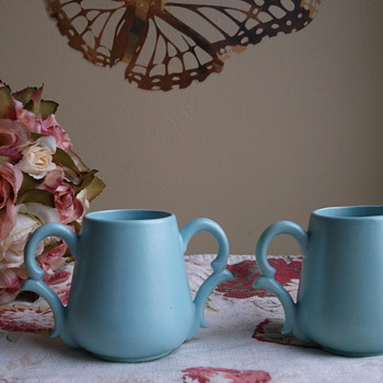 Matte Turquoise Glaze Cream and Sugar Signed MK (joined) - Pottery