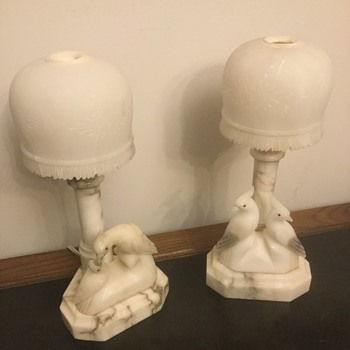 Carved Italian Alabaster Marble Art Deco Stone Lamps  - Art Deco
