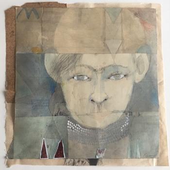 "Kurt Kemp Mixed Media on Paper ""Portrait Christopher"" - Fine Art"