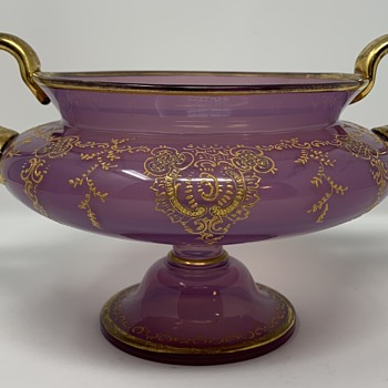 Loetz Heliotrope Enameled Pedestal Bowl, ca. 1890, DEK I/64, PN unknown - Art Glass