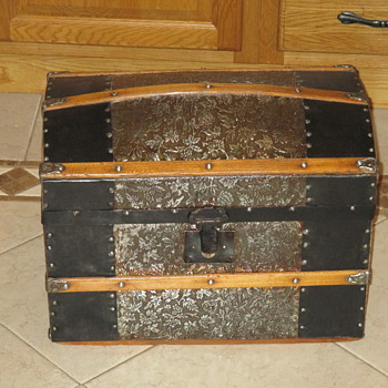 Doll Size Embossed Metal Trunk - Refinished