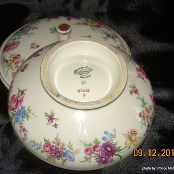 This mis the bottom of the candy dish and another shot of the glasses and purfume bottle - China and Dinnerware