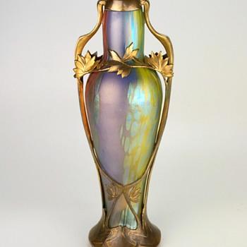 Loetz Phänomen Genre 299 TriColor in Ormolu Bronze Mount - Art Glass
