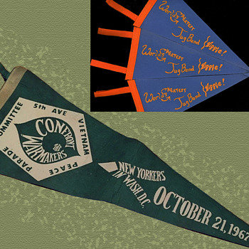 1967 Confront The Warmakers original Pennant with Provenance - Politics