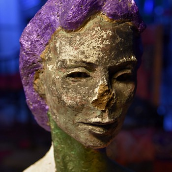 Plaster Bust of a Woman - Weathered and Painted Psychedelic - Fine Art