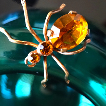 Amber Rhinestone Glass Insect Brooch - Costume Jewelry