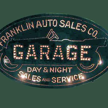 FRANKLIN GARAGE/AUTO TIN SIGN   PRE NEON - Signs
