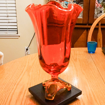 Arching Thumb Print Footed Base vase by Viking Art Glass  - Art Glass