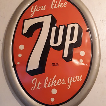 Vintage 7up Oval Advertisement Sign - Advertising