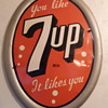 Vintage 7up Oval Advertisement Sign
