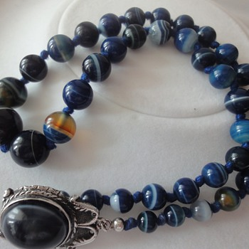 Silver blue color Agate necklace - Fine Jewelry
