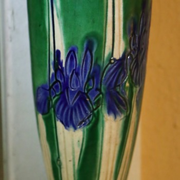 Awaji Hanging Vase - Iris Pattern - Pottery