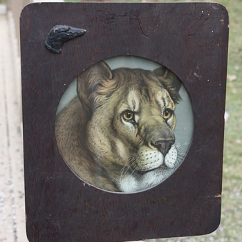 Antique Lioness Print in Handmade Wooden Frame - Fine Art