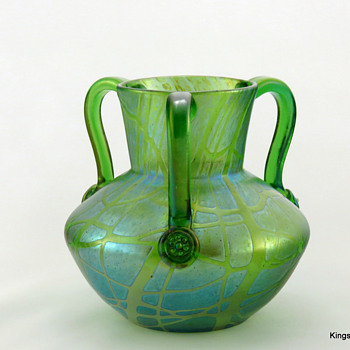 Loetz PN II-340 Crete Pampas 3 handle Vase ca. 1900 - Art Glass