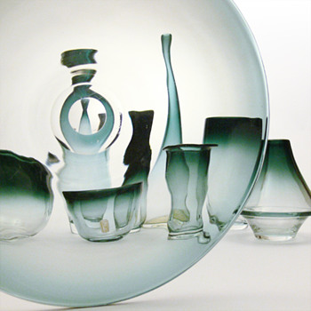 9 glass items from the TONA range, Bengt Orup (Johansfors, 1957)