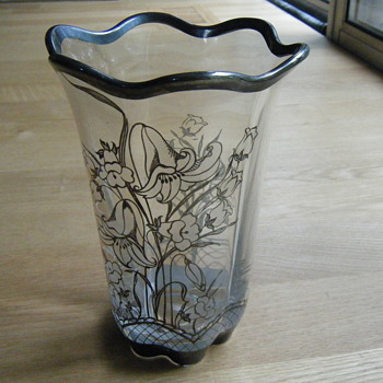 Clear Glass Vase Silver Overlay