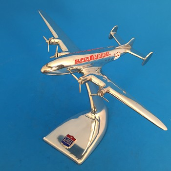 RARE United Airlines Chrome DC-4E Small Agency Desk Model  - Advertising