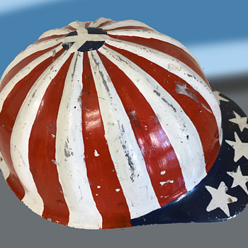 Original Hippie Counter Culture SuperLite Hard Hat w Painted Flag & Peace Symbol. - Folk Art