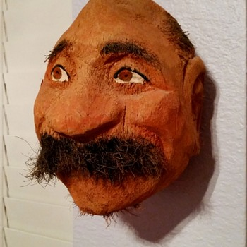 Hand Carved Man's Head from Coconut Husk - Folk Art